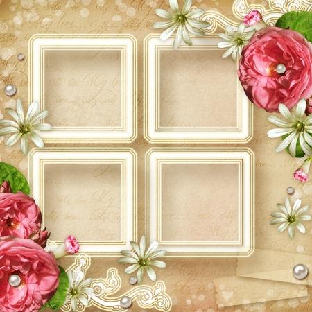 cartoline vittoriane: Photo Frame Vintage con rose rosa e perle