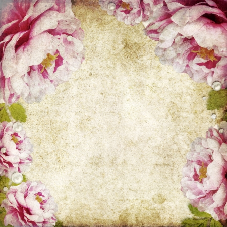 grubby: retro floral background in scrapbook style Stock Photo