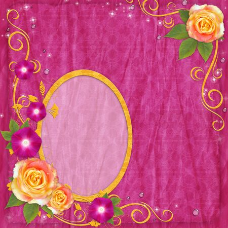 photo album page: Oval yellow frame on vintage background with roses, drops