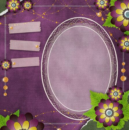 rough diamond: vintage glass frame on  grunge background with flowers in scrapbook style (1 of set)