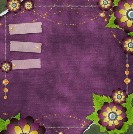 vintage glass frame on  grunge background with flowers in scrapbook style (1 of set) Stock Photo - 11710415