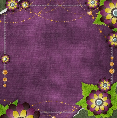vintage glass frame on  grunge background with flowers in scrapbook style (1 of set) Stock Photo - 11710416