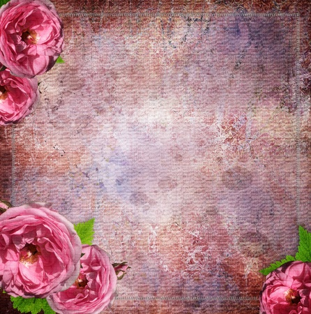 diamond in the rough: vintage glass frame on  grunge background with flowers in scrapbook style (1 of set)