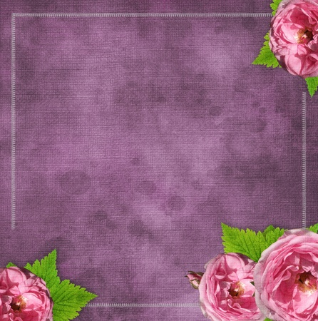 vintage glass frame on  grunge background with flowers in scrapbook style (1 of set)  photo