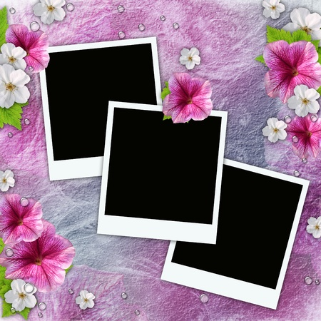 wedding photo album: Vintage background with frames for photos, flowers, lace