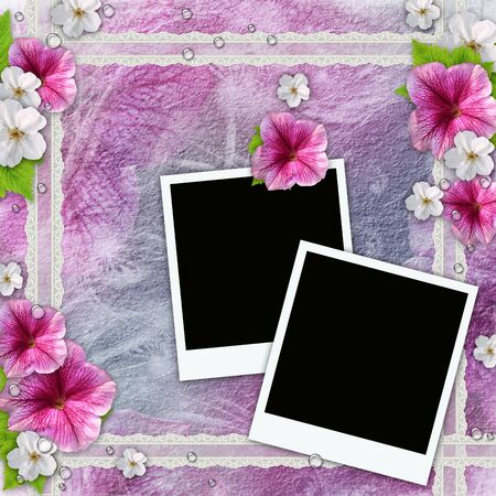 Vintage background with frames for photos, flowers, lace  photo