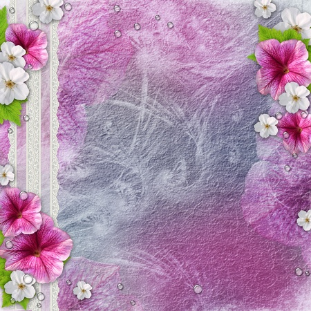 trim wall: Vintage background with frames for photos, flowers, lace