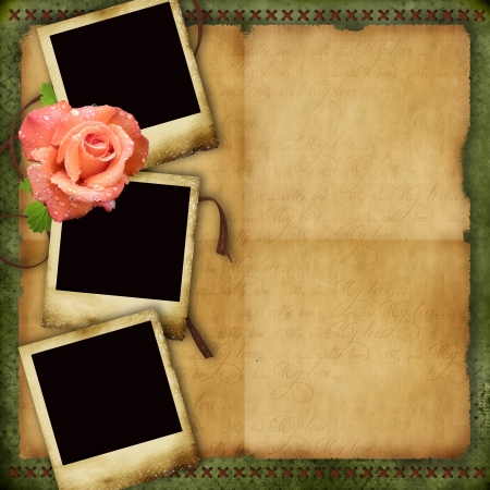 Vintage paper background with elegant three frames and rose  photo