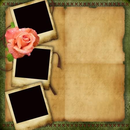 victorian valentine: Vintage paper background with elegant three frames and rose