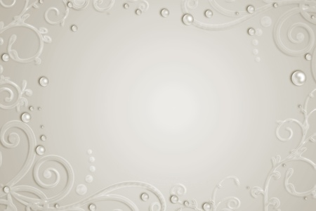 marriage invitation: Abstract background with pearls, swirl  Stock Photo
