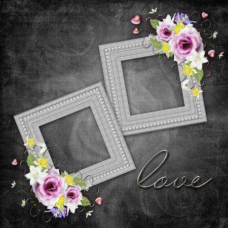 Vintage elegant frames with roses photo