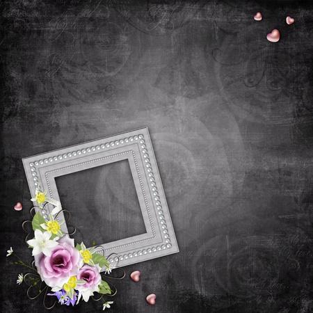 celebratory: Vintage elegant frames with roses Stock Photo