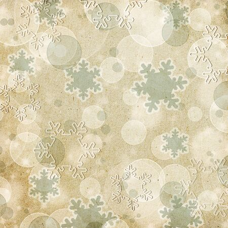 vintage paper pattern  or background with snowflakes and bokeh photo