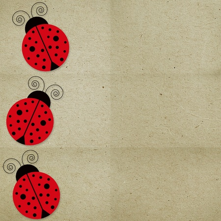 paper background three with ladybugs