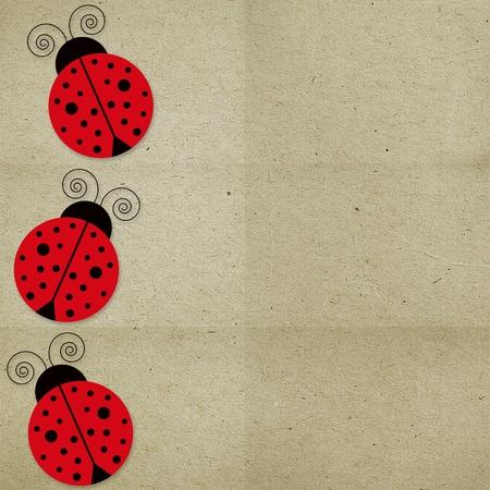 ladybirds: paper background three with ladybugs