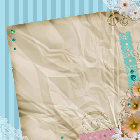 Vintage background with space  for text or  photos and flowers  photo