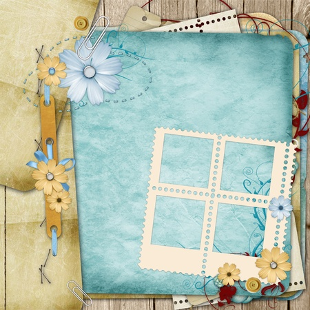 album photo: Old shabby style  photoalbum page with flowers