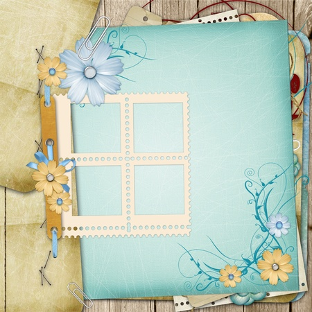 Old shabby style  photoalbum page with flowers