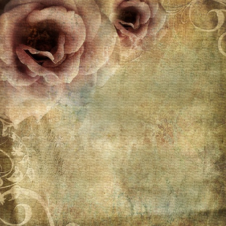 old notebook: vintage background  with roses  Stock Photo