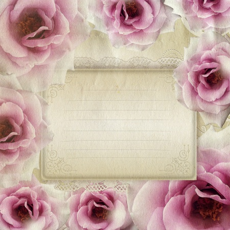 Card for congratulation or invitation with roses  photo