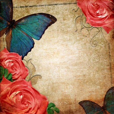 buterfly: Vintage card for the holiday with flower on the abstract background