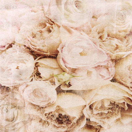 florescence: Textured background with beige roses and space for text