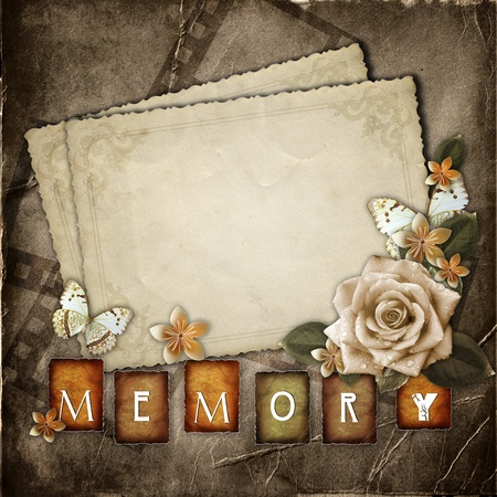 photo album page: Vintage background with  paper cards and flowers