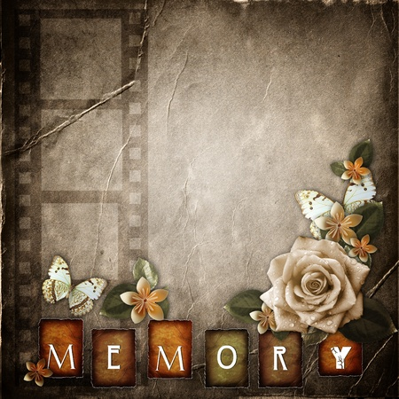 intage background with   flowers  photo