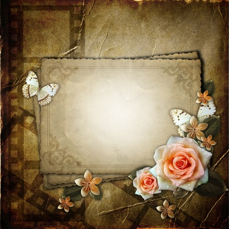 rose photo: Vintage background with  paper  frame and flowers