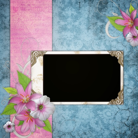scrapbook frame: Three frameworks for photo on the vintage background