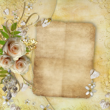 anniversary flower: Greeting golden card with beautiful  roses, paper hearts, ribbon, leaves  Stock Photo