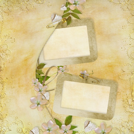 Greeting golden card with  paper hearts, ribbon, leaves  photo