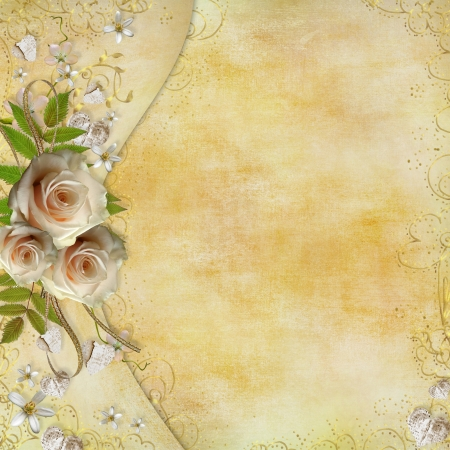 Greeting golden card with beautiful  roses, paper hearts, ribbon, leaves  Stock Photo - 11826870