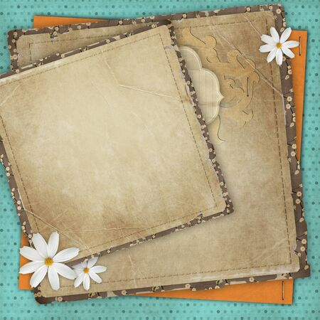 Vintage card for the holiday with frames, flowers on the abstract background photo