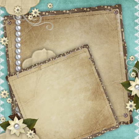 wedlock: Vintage card for the holiday with frames, flowers on the abstract background