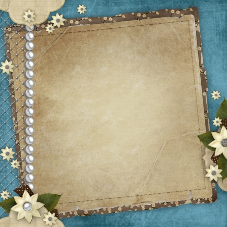 the album announcement: Vintage card for the holiday with frames, flowers on the abstract background