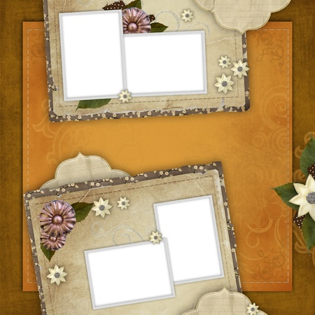cut or torn paper: Vintage card for the holiday with frames, flowers on the abstract background