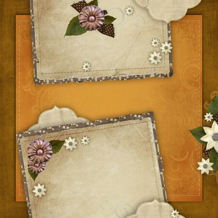 Vintage card for the holiday with  flowers on the abstract background photo