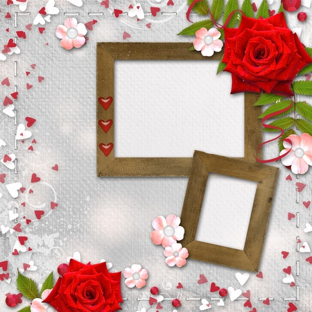 Card for congratulation or invitation with hearts and red roses  photo