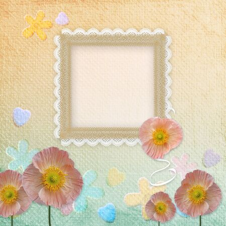 Framework for invitation or congratulation with poppy photo