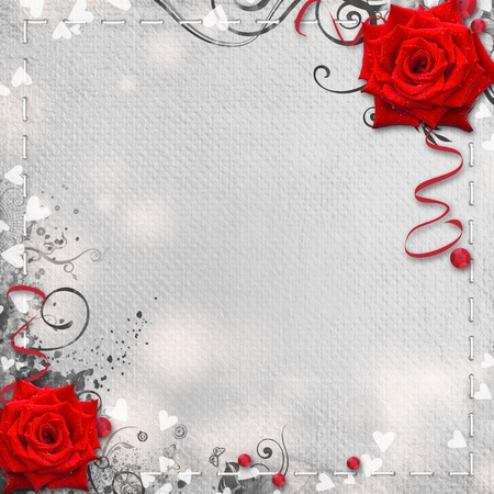 roses and hearts: Card for congratulation or invitation with hearts and red roses