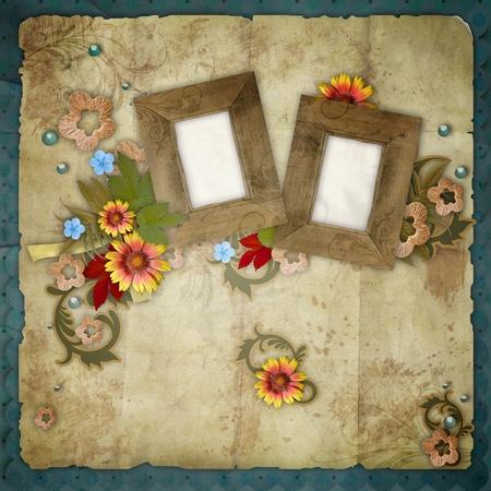 pics: old frames on vintage background  Stock Photo