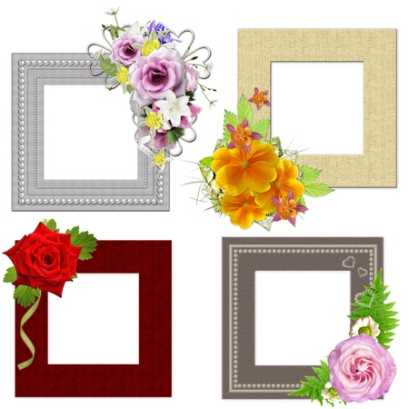 The frames is decorated with a bouquet of flowers. Isolated on white background  photo