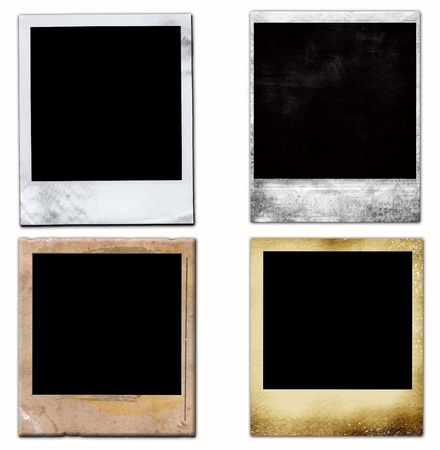 confines: 4 Isolated Old Vintage Photo Frames