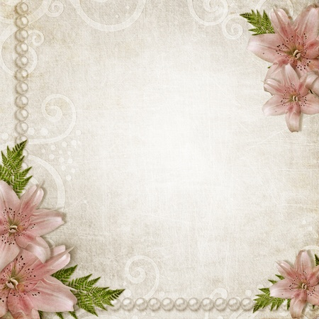 Paper grunge background with pink lily  photo