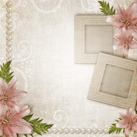 Paper grunge background with pink lily and frames photo