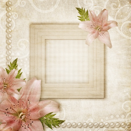 lily flower: Paper grunge background with pink lily  Stock Photo