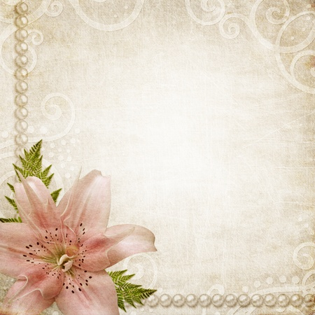 earthy: Romantic background witn grunge paper, pearls and pink lily flower Stock Photo