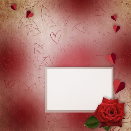 Greeting Card to St. Valentine with red rose and hearts photo