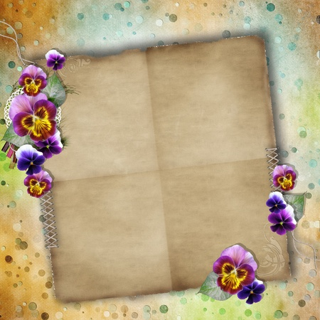 Greeting Card to Mothers Day with pansy  and Old Paper photo